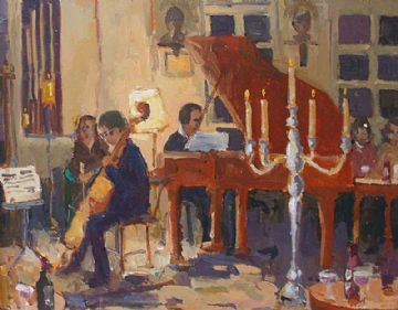 Eric Ward Original Oil Painting Evening Music At Chelsea Arts Club London